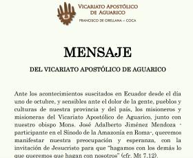 MENSAJE DEL VICARIATO APOSTÓLICO DE AGUARICO
